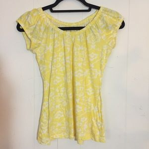 Yellow and white floral top